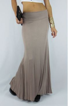 ANA'S LONG BODYCON TIGHT SEXY HIGH WAIST TAUPE JERSEY MAXI SKIRT WITH MERMAID FLARE FROM CHAPTER 11