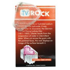 """Ulexite TV Rock  Otherwise known as ulexite, the TV stone is a structurally complex rock with fascinating characteristics. It will display an image on the front surface of whatever material it is placed upon. Pictures and even words are projected through the stone due to its fiber optic properties. Size: 1"""" - 2""""."""