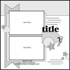Scrapbook layout - Cute design--love the tag. 8x8 Scrapbook Layouts, Album Scrapbook, Scrapbook Templates, Scrapbook Designs, Scrapbook Sketches, Baby Scrapbook, Travel Scrapbook, Card Sketches, Scrapbook Paper Crafts