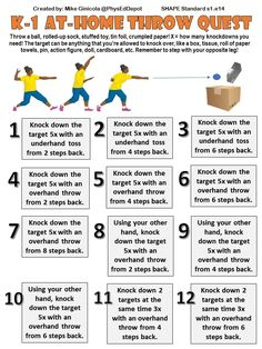 These skills-based self-guided progression challenges were created specifically for home-based learning with easy DIY equipment (like rolled up sock, crumpled paper or tin foil as a ball). This one is for throwing skills. Physical Education Lesson Plans, Pe Lesson Plans, Physical Activities For Kids, Elementary Physical Education, Elementary Pe, Pe Activities, Health And Physical Education, Health Class, Pe Lessons