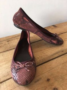 223a00908427b2 UK SIZE 6 WOMENS JONES BOOTMAKER DARK PINK LEATHER BALLET PUMPS SNAKESKIN  LOOK