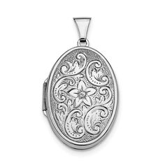 Sterling Silver Rhodium-plated Polished 32mm 2-Frame Oval Locket