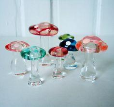 Kitschy Glass Mushrooms
