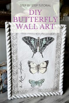 Do you love butterfly decor? Learn how to DIY butterfly wall art the easy way using IOD Entomology Transfer. Step by step tutorial using butterfly rub on image transfers for DIY home decor. Diy Wall Art, Diy Wall Decor, Diy Butterfly Decorations, Diy Home Decor Projects, Decor Ideas, Craft Ideas, Iron Orchid Designs, Butterfly Wall Art, Handmade Christmas Gifts