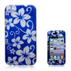 Fashion Flowers Print Hard Protect Skin Case Cover for iPhone 4 4S (Blue)