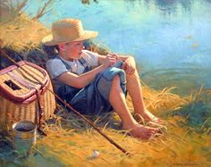 The One that Got Away: G Bjorn Thorkelson's original oil fine art portraiture of young boy fishing.