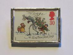Postage Stamp Brooch: A Christmas Carol by bookshelvesofdoom, $16.00