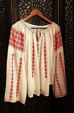 antique ethnic red cross stitch romanian  blouse in handwoven white cotton, red embroidery /hippie, boho /art to wear