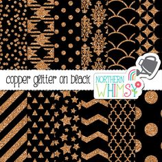 Copper Glitter Digital Paper – geometric black and copper digital paper – glitter paper - copper and black printable paper - commercial use