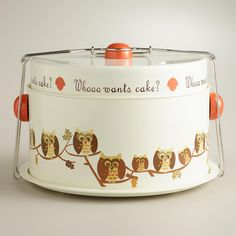 """Our exclusive Owl Cake Carrier holds a 10"""" diameter cake or entire batch of cupcakes securely for safe and easy transport. >> #WorldMarket Mother's Day"""