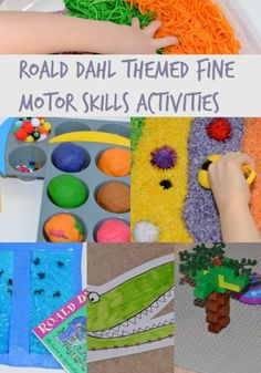 Fun Roald Dahl themed fine motor skills activities, includes Willy Wonka Play dough, Mr Twit wormy spaghetti and The Enormous Crocodile LEGO trees Motor Skills Activities, Gross Motor Skills, Preschool Activities, Roald Dahl Activities, The Enormous Crocodile, Roald Dahl Day, Finger Gym, The Twits, Willy Wonka
