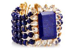 Bracelet w/ Lapis & Clear Quartz