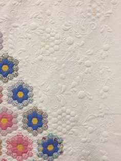 Rescued Hexi quilted by Shelley Sieverkropp with clever echo hexagon design. 2017 Utah Quilting and Sewing Marketplace. Photo by Sew Fun 2 Quilt