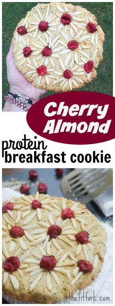Giant Cherry Almond Protein Breakfast Cookie is a gluten-free, single ...