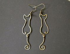 Cats Wire Wrapped Brass Earrings by Hvitolg on Etsy,