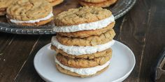 These Peanut Butter Oatmeal Sandwich Cookies with Marshmallow Crème Filling