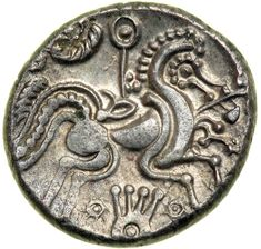 Coin from Jersey, Armorica, Struck Circa 80-50 BC shows an ornate running Celticized horse with a sun-scepter above it and a lyre-shaped object below between two suns. Armorica is the name given in ancient times to the part of Gaul between the Seine and Loire rivers, that includes the Brittany peninsula, extending inland to an indeterminate point and down the Atlantic coast.