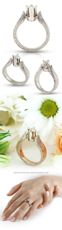 White gold engagement ring with a center diamond 12 pcs. small brilliants and handmade engraving.