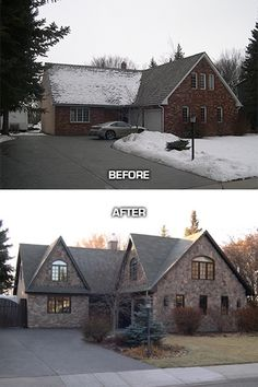Home Remodeling Old Houses Exterior renovation in the Calgary community of Lakeview Village - These stunning before and after pictures show great examples of how to gain curb appeal for your home. The results are inviting and full of charm.