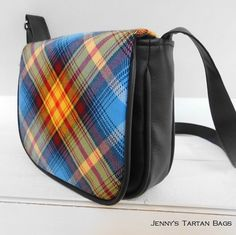 Saddle bag with Declaration of Scottish Independence, Arbroath 1320 tartan by Jenny's Tartan Bags