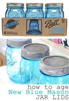 How to age new blue Mason jar lids