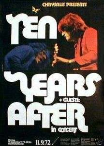 10 years after concert posters   TEN YEARS AFTER rare concert poster from 1972 (Kieser)