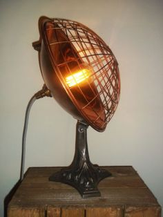 Converted-U-S-Made-Vintage-Copper-Heat-Lamp-Industrial-Steampunk-Table-Desk-Lamp