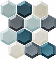 Bella Glass Tiles Shimmering Breeze Hawaiian Blue a 3 inch hexagon mesh mounted for ease of installation. Blue Mosaic Tile, Hexagon Tiles, Blue Tiles, Mosaic Glass, Glass Tiles, Glass Tile Bathroom, Blue Glass Tile, Concrete Tiles, Bathroom Wall