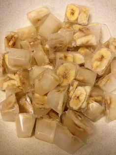 Banana chip ice cubes...a great way to give out such a highly valued treat food!