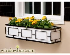 The Contemporary Window Box Cage (Square Design) - Wrought Iron Window Boxes - Window Boxes - Windowbox.com