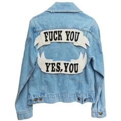 CUSTOM DENIM JACKET (€135) ❤ liked on Polyvore featuring outerwear, jackets, tops, blue jean jacket, blue denim jacket, patched jean jacket, patch jacket and patch denim jacket