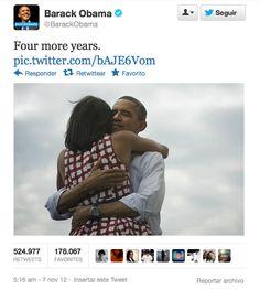 Tweet del Presidente Obama comunicando su elección.