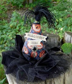 Halloween HAG Fascinator Party Hat -  Witch pumpkin fabric banner Steam punk tea party mini head piece
