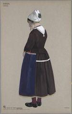 Marken, ca. 1830. Oude vrouw in zondagsdracht...