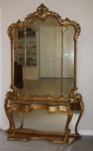 Extravagant Antique Ornately Carved Louis XV Console Pier Mirror Marble Top Nice