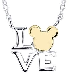 Disney Mickey Mouse Love Sterling Silver Necklace ($40) ❤ liked on Polyvore featuring jewelry, necklaces, disney, accessories, chain necklace, long pendant necklaces, mickey mouse pendant necklace, long necklaces and square pendant necklace