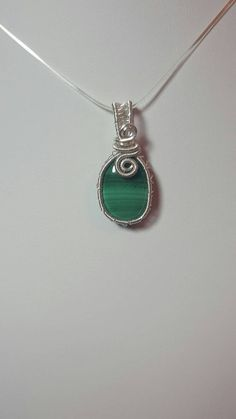 Wirework Malachite Pendant, gift for her, gift for mum, gift idea, Keepsake jewellery, Gemstone, silver plated, birthday, present, weave