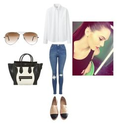 """Untitled #284"" by kaittd on Polyvore featuring Uniqlo, Topshop, Chanel, Ray-Ban and CÉLINE"