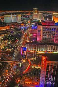 Las Vegas Strip at Night - taken from the Eiffel Tower