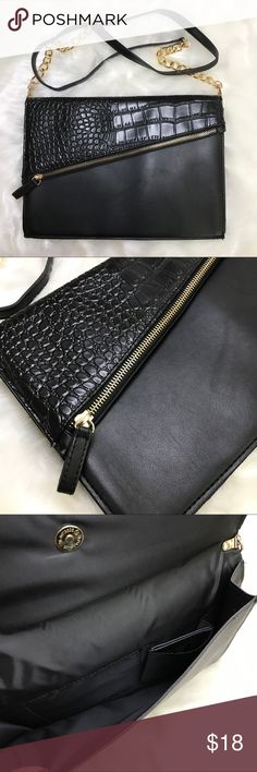 NEW Asymmetrical Crossbody Purse •NEW •Crocodile flap with gold zippered upper pocket •Removable chain strap to become a clutch •Matching mirror included Bags Crossbody Bags