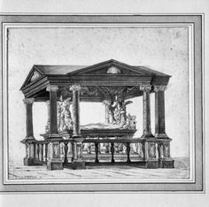 Interieur grafmonument van Reinoud III van Brederode, tekening van Gerrit Lamberts (ca. 1776-1850).