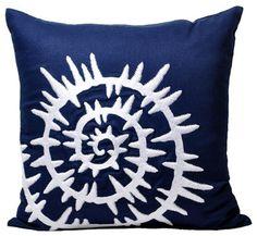 Modern Sea Shell Embroidered Pillow Cover modern pillows