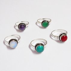 BLUE CHALCI & MIX GEMSTONE WHOLESALE LOT 5PCS 925 STERLING SILVER OVERLAY RING #VKSilvexJaipur #Ring