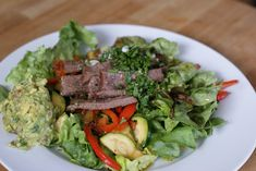 Steak Fajita Salad with Chipotle Lime Marinade paleo lunch dinner Herb Recipes, Paleo Recipes Easy, Real Food Recipes, Cooking Recipes, Whole30 Recipes, Primal Recipes, Protein Recipes, Steak Fajitas, Marinade Steak