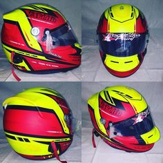 A freshie for @kade_taylor1 #helmetpaint #helmetart #neons #arai by rockstarpaint