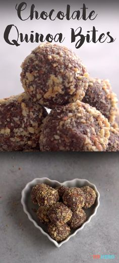 "Chocolate Quinoa Bites Recipe | When you think ""quinoa,"" you probably don't think, ""treat!"" That's about to change! Why? Because we're taking the current healthy food favorite, coating it in dark chocolate, and adding crushed almonds for good measure. The result is an easy-to-make, no-bake treat you can enjoy without guilt. Click for the recipe and to watch how they're made! #healthyrecipes #healthysnacks #protein #cooking #ideas #healthytreats #goodfood"