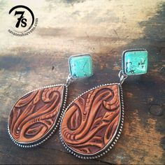 ༻⚜༺ ❤️ ༻⚜༺ Odessa Earrings | Tooled leather and tuquoise earrings with teardrop detailed hand tooled leather, sterling silver trim and turquoise posts. | $299.00 ༻⚜༺ ❤️ ༻⚜༺