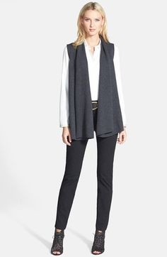 Lafayette 148 New York Leather Back Vest, Silk Blouse & Twill Jeans  available at #Nordstrom