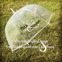 Fall weddings are upon us! Our personalized umbrellas will keep you two dry and make the perfect photo prop.