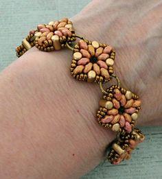 "TARA BRACELET WITH MINIDUOS - SIDE ONE   15/0 seed beads Miyuki ""Light Bronze"" (457L)  11/0 seed beads Miyuki ""Light Bronze"" (457L)  Rul..."